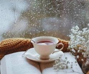 book, tea, and rain image
