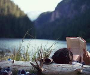 nature, reading book, and relaxing image
