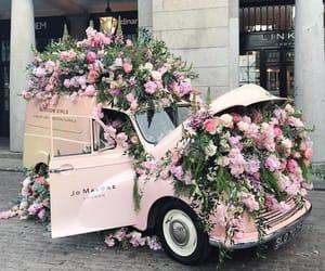 car, unicorn, and flowers image
