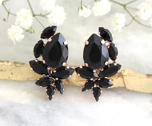 black, earrings, and style image
