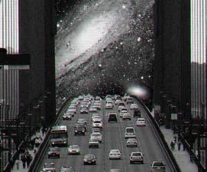 car, galaxy, and black and white image