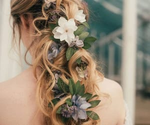 belleza, flores, and hair image