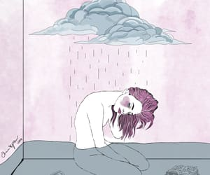 illustration, sadness, and watercolor image
