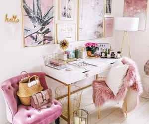 pink, decoration, and gold image