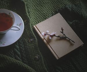 book, flower, and tea image