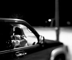 kiss, black and white, and car image