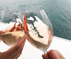 wine, drinks, and sea image