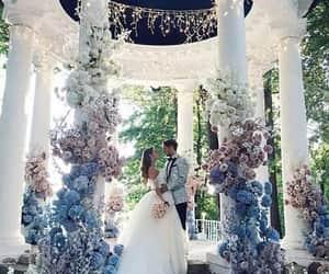 wedding, flowers, and couple image