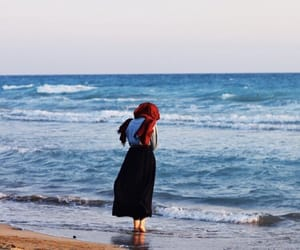 hijab, girl, and beach image