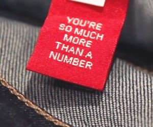 number, quotes, and jeans image