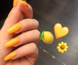 aesthetic, yellow, and yellow nails image