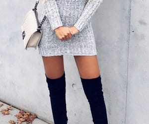fashion, dress, and boots image