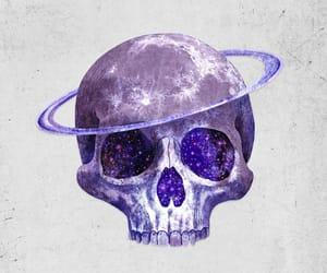 skull, galaxy, and moon image