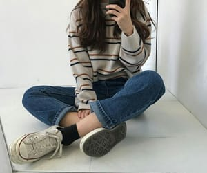 aesthetic, mom jeans, and converses image