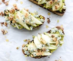 avocado, pear, and toast image