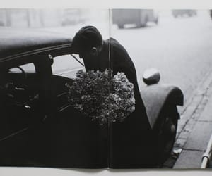 flowers, man, and black and white image