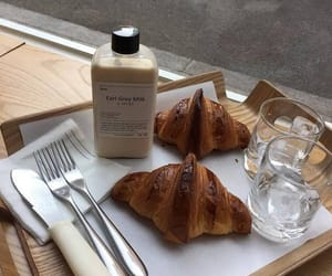 food, croissant, and milk image
