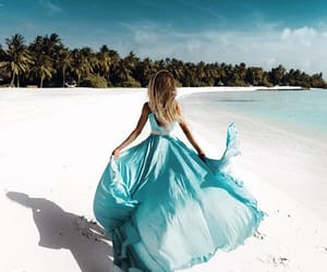 beach, blue, and girl image
