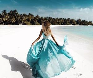 beach, blue, and dress image