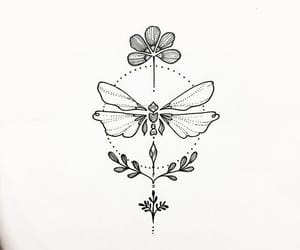 dragonfly, flower, and tattoo ideas image