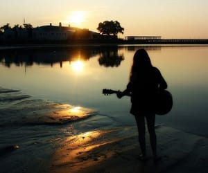 guitar, girl, and sunset image
