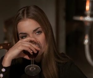 girl, wine, and movie image