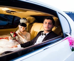 crown, smiling, and wedding car image