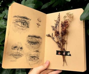 eyes, drawing, and plants image