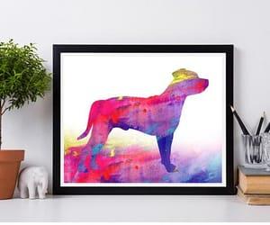 dog, watercolor print, and digital download image