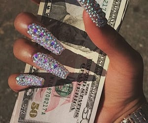 money, nails, and diamond image