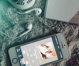 iphone, music, and notebook image