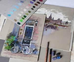 art, bike, and city image