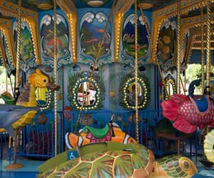 aesthetic, merry go round, and seahorse image
