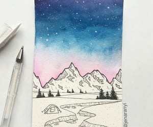 blue, drawing, and mountain image