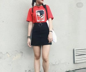 black skirt, skirt, and t-shirt image