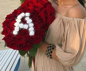 flowers, girl, and gift image