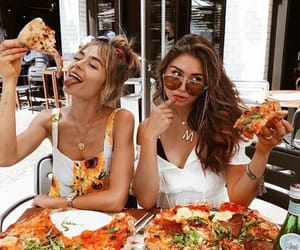 pizza, girl, and friends image