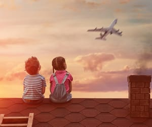 airplane, children, and clouds image
