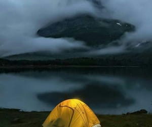 camping, mountains, and lakeside image
