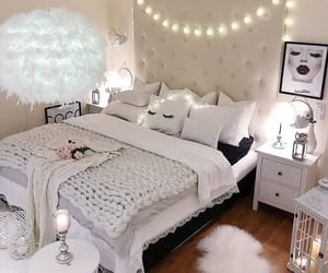 bedroom, decoration, and lights image