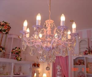 pink, chandelier, and room image