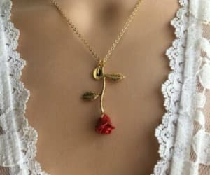 rose, girl, and necklace image