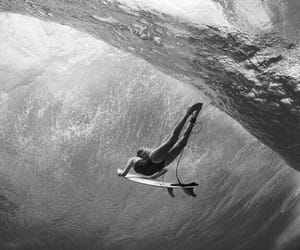 black and white, surfer, and photography image