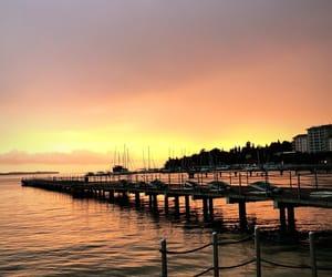 beach, sunset, and slovenia image