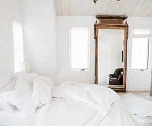 interior, white, and bed image