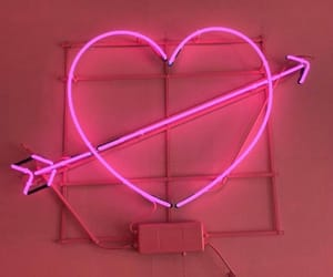 pink, heart, and neon image