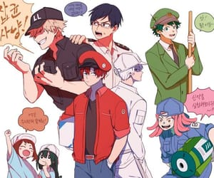 crossover, hataraku saibou, and boku no hero academia image