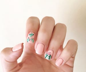cactus, long nails, and nail art image