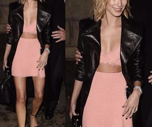 leather jacket, hailey baldwin, and cute pink outfit image