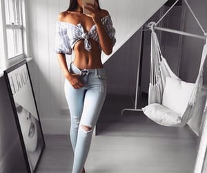 abs, girl, and jeans image